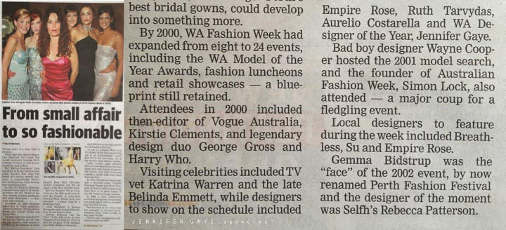Jennifer Gaye mentioned in the West celebrating PFF